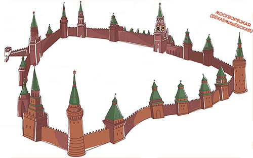 Схема расположения Беклемишевской башни в Кремле